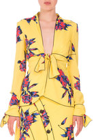 Proenza Schouler Lily-Print Knotted V-Neck Blouse, Yellow/Blue