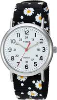 Timex Women's TW2R24100 Weekender Black Floral Reversible Nylon Slip-Thru Strap Watch