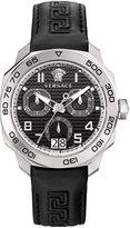 Versace 44mm Men's Dylos Chronograph Watch w/ Leather Strap, Black