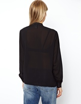Asos Blouse with Solid Bib and Sheer Overlay