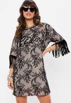 Barbie X Missguided Black Fringe Lace T Shirt Dress, Black