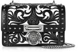 Balmain B.Box 20 Black/White Western Pattern Smooth Leather Flap Bag w/Studs
