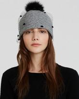 Helene Berman Beanie Hat with Veil & Fox Fur Pom Pom
