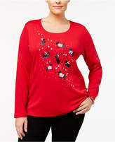 Karen Scott Plus Size Cotton Scottie Dog Graphic Top, Created for Macy's