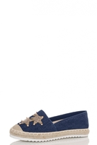 Quiz Blue Sequin Stud Espadrilles