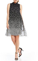 Jessica Howard Mock Neck Printed Trapeze Dress