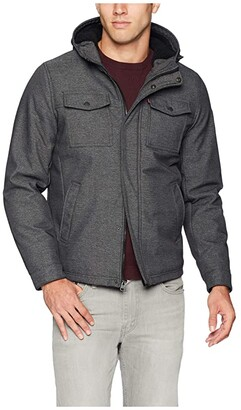 Levi's Softshell Hoodie Trucker Jacket w/ Sherpa Lining (Graphite Twill) Men's Clothing