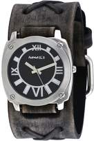 Nemesis #FXB066K Men's Dark Gray Dial Wide Leather Cuff Band Watch