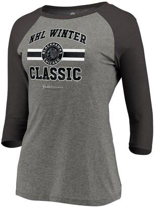 Women's Fanatics Branded Heathered Gray/Black Chicago Blackhawks Winter Classic Vintage Three-Quarter Sleeve Raglan T-Shirt