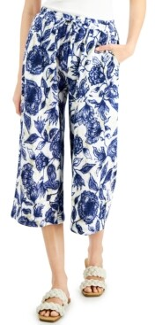 INC International Concepts Inc Petite Printed Pull-On Culottes, Created for Macy's