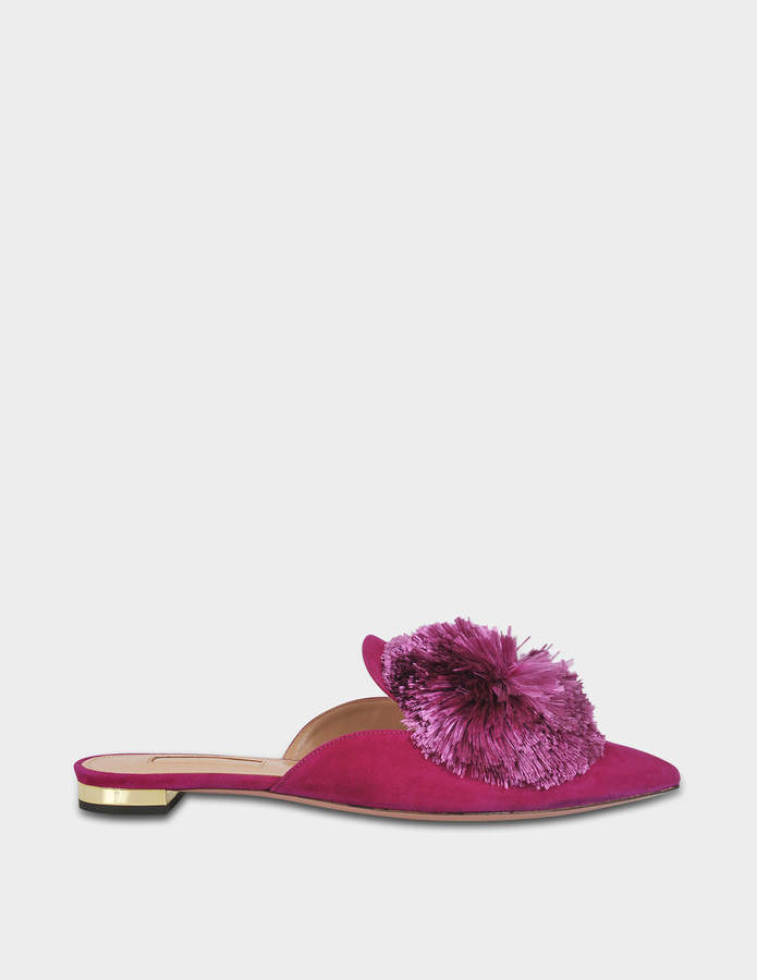 Aquazzura Powder Puff Flat Shoes in Iris Suede