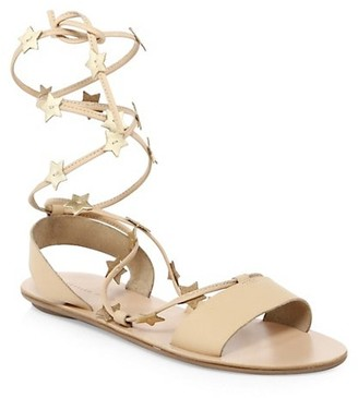 Loeffler Randall Starla Ankle-Wrap Leather Sandals