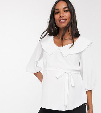 ASOS DESIGN Maternity tea blouse with frill collar detail