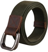 Sitong Genuine leather double loop buckle canvas belt jeans belt