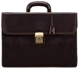 Maxwell Scott Bags Maxwell Scott Mens Large Leather Business Briefcase - Paolo3 Brown