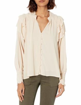 ASTR the Label Women's Rashsida Long Sleeve Ruffled Button Down Top