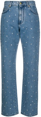 Philosophy di Lorenzo Serafini Crystal-Embellished High-Rise Straight-Leg Jeans