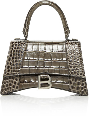 Balenciaga Hourglass Embellished Croc-Effect Leather Top Handle Bag