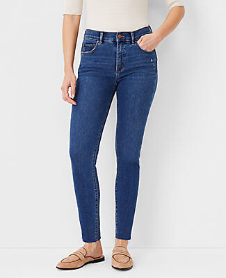 Ann Taylor Sculpting Pocket Mid Rise Skinny Jeans in Mid Stone Wash