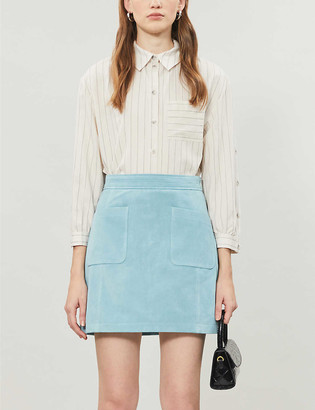 Topshop High-waisted suede mini skirt