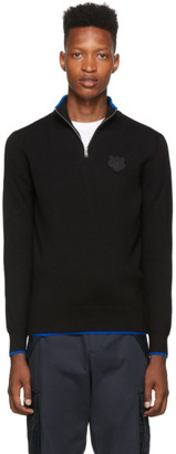 Kenzo Black Wool Tiger Crest Half-Zip Jumper Sweater