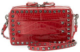 Valentino Rockstud Crocodile Crossbody Bag, Red