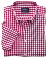 Charles Tyrwhitt Slim fit non-iron poplin short sleeve raspberry check shirt