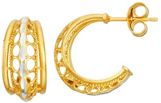 Primavera Two-Tone 24k Gold & Sterling Silver Textured Cutout Hoop Earrings