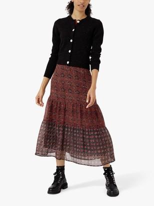 Brora Patchwork Silk Tiered Skirt, Copper/Indigo
