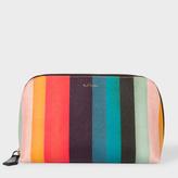 Paul Smith Women's 'Artist Stripe' Print Leather Make-Up Bag
