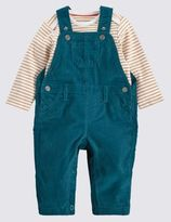Marks and Spencer 2 Piece Cord Dungaree and Bodysuit Outfit