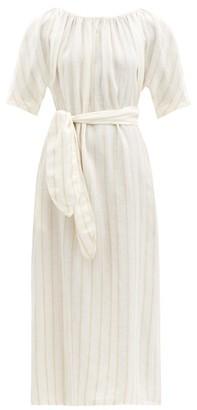 Mara Hoffman Aliz Striped Belted Linen-blend Midi Dress - Cream Stripe