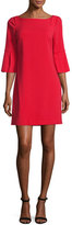 Badgley Mischka Bell-Sleeve Ponte Cocktail Dress, Red