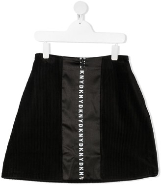 DKNY TEEN logo-tape A-line skirt