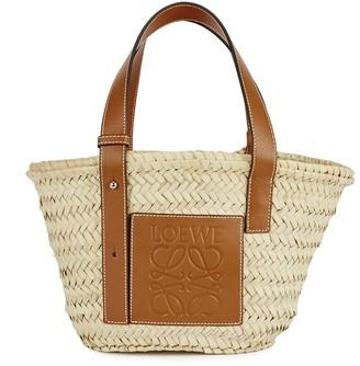 Loewe Small Cream Raffia Basket Bag