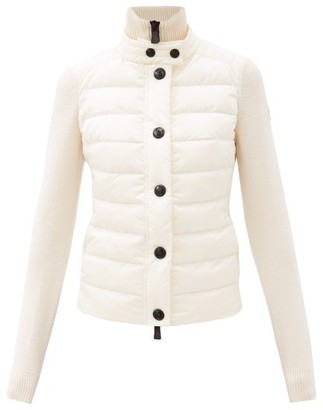 MONCLER GRENOBLE Tricot Quilted Down Wool-blend Cardigan - White