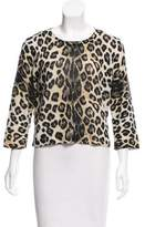 Samantha Sung Leopard Printed Knit Sweater