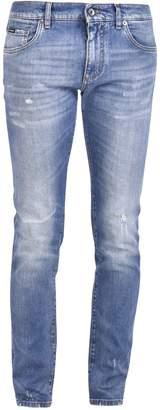 Dolce & Gabbana Logo Distressed Jeans