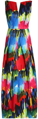 Milly Marilia Open-back Printed Cotton-blend Gown