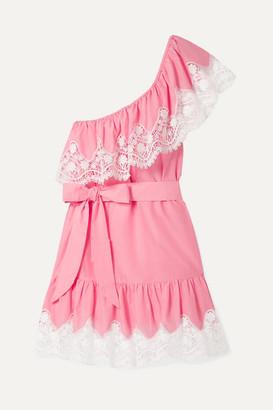 Miguelina Summer One-shoulder Crochet-trimmed Linen Mini Dress - Pink