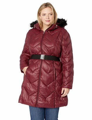 Celsius Women's Plus-Size Heavyweight Quilted Wellon Jacket and Removable Hood Outerwear