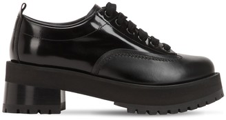 Marni 60mm Shiny & Matte Leather Lace-Up Shoes