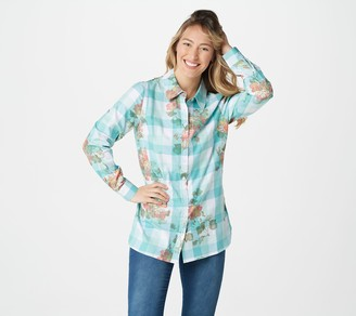 Denim & Co. Yarn Dye Plaid with Print Button-Front Tunic