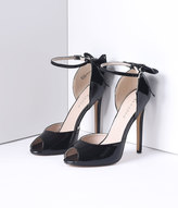 Pleaser USA Black Patent Peep Toe d'Orsay Bow Sexy Heels