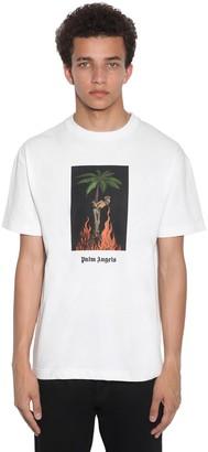 Palm Angels Burning Print Cotton Jersey T-shirt