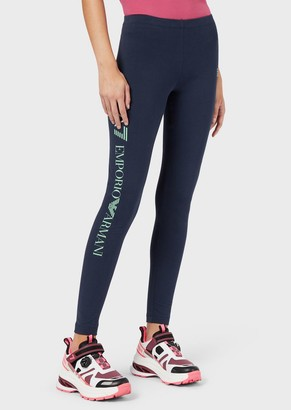 Emporio Armani Leggings In Stretch Cotton With Printed Ea7 Logo