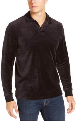 Tasso Elba Men Velour Long Sleeve Polo Shirt
