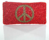 Moyna Red Sequin Trimmed Peace Sign Print Zip Top Clutch Coin Purse