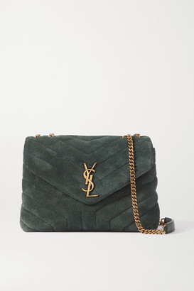 Saint Laurent Loulou Small Quilted Suede Shoulder Bag - Green