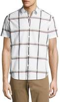 Theory Zack S. Raised Plaid Short-Sleeve Shirt, Multi